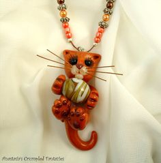 Cute orange cat pendant Polymer clay kitty by CrumpledFantazies