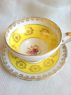 Vintage yellow tea cup and saucer ☆