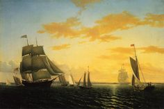 """""""New Bedford Harbor at Sunset"""" by William Bradford"""