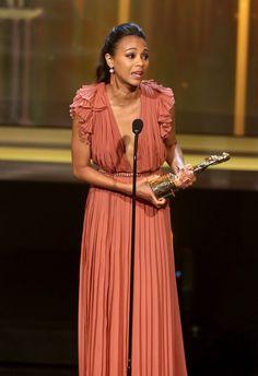 Actress Zoe Saldana accepts an award for Favorite Movie Actress in Drama Adventure at the 2012 NCLR ALMA Awards at Pasadena Civic Auditorium on September 16, 2012 in Pasadena, California.