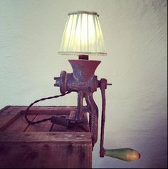 """Rusty Remake Signature """"Green Lantern"""". Meat Grinder Lamp made from English meat grinder """"London"""". More industrial lamps and vintage home decor at www.rustyremakes.com."""