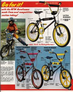 """Early days - above and below, a two page advertisement featured in """"Look-In"""" magazine, THE RACE IS ON BMX is the bike. Vintage Bmx Bikes, Vintage Cycles, Old Bikes, Retro Bikes, Raleigh Burner, Raleigh Bikes, Bmx Cruiser, Best Bmx, Bmx Parts"""