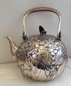 signed Japanese Silver Teapot Floral Foliate Design Copper Butterfly Finial #SterlingSilverTeapot