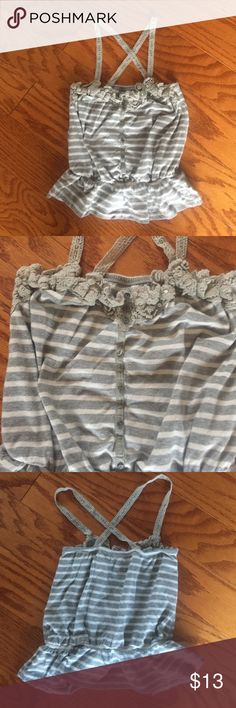 """Abercrombie & Fitch Camisole EUC - no rips or stains. Cute lace cross strap camisole. Elastic back, crochet neckline, buttons down front, elastic waist. 14"""" from crochet top to bottom hem. Smoke free home. Abercrombie & Fitch Tops Camisoles"""