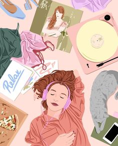 As bosses we deserve to relax and let loose a little from time to time. My ideal relaxing night? and How do you relax as a fellow entrepreneur? Gorgeous art by Feminist Art, Art Moderne, Cute Illustration, Magazine Illustration, Aesthetic Art, Cute Drawings, Cartoon Art, Cute Wallpapers, Cute Art
