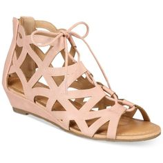 Esprit Cacey Lace-Up Wedge Sandals ($49) ❤ liked on Polyvore featuring shoes, sandals, blush, caged wedge sandals, wedge sandals, cage sandals, lace up shoes and lace up wedge shoes