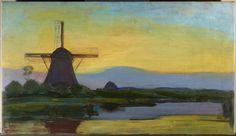 Piet Mondriaan, Oostzijdse molen bij avond  1907-1908  hoogte 69,6 cm breedte 119,5 cm  olieverf op doek