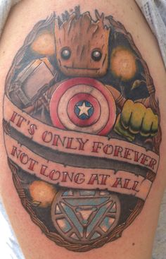 Marvel / guardians of the Galaxy / groot tattoo dedicated to my son.