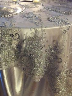 Italian Princess Lace Tablecloth Overlay   Silver
