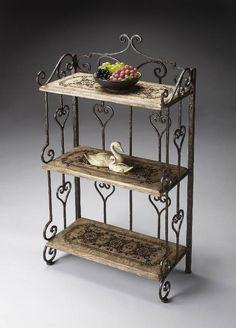 Butler-Tuscan Wrought Iron & Stone 3 Shelf Display Etagere at Cheapchicdecor.com