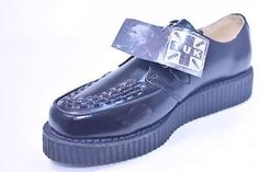 TUK A6808 'BASIC LOW' BLACK LEATHER CREEPERS NOS UK 8 USM 9 USW 11 GOTH PUNK