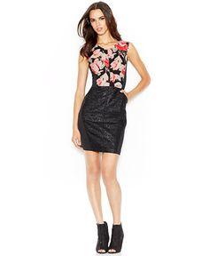 RACHEL Rachel Roy Sleeveless Mixed-Media Printed Dress - Dresses - Women - Macy's