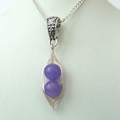 Purple jade 'Peas in a Pod' necklace - other colours and sizes available £10.00