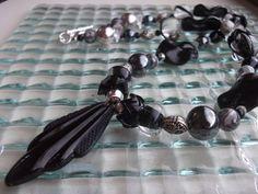 Black Pendant NecklaceChunky Black Necklace Art Deco by mscenna, $20.00