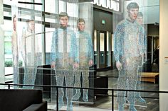 Star Trek sculpture by Devorah Sperber, Spock, Kirk and McCoy beaming-In are actually made up of semi translucent beads, via Flickr