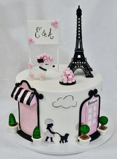 Paris Themed Birthday Cake Themed Birthday Cake By Paris Themed Birthday Party Cake Paris Themed Cakes, Paris Themed Birthday Party, Paris Cakes, Army Birthday Cakes, Themed Birthday Cakes, Birthday Cake Girls, Birth Cakes, Bolo Paris, Eiffel Tower Cake