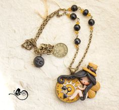 Steampunk - polymer clay necklace / fairy / clay / fimo / zingara creativa / steampunk by ZingaraCreativa