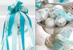 color schemes aqua silver white winter wonderland christmas decorating decor tablescape holiday ideas interior design