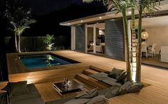 Interesting Wooden Deck Design Ideas For Outdoor Swimming Pool - Page 34 of 48 Garden Architecture, Architecture Design, Outdoor Swimming Pool, Swimming Pools, Deck Design, House Design, Garden Design, Window Design, Mediterranean Decor