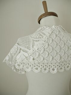 Items similar to Bridal Shrug Capelet With Vintage Doilies, in Ivory Color Handcrocheted on Etsy Irish Crochet, Crochet Shawl, Bridal Shrug, Shrugs And Boleros, Capelet, Neck Warmer, Crochet Clothes, Lace Shorts, Collars