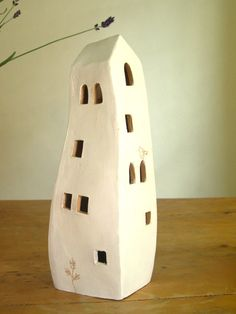 White handmade ceramic lantern house with the by TalkingPotsLab, €22.00