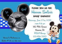 Custom sonogram mickey mouse baby shower invitations baby shower mickey mouse baby shower invitation mickey by graphicsbycolton filmwisefo Choice Image