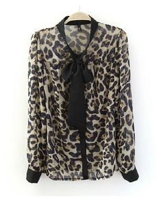 #Chicnova Leopard Print Shirt with Collar Details