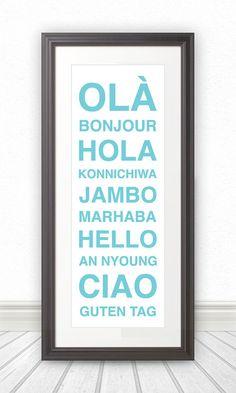 Hello - Bonjour - Hola - Wall Art by BentonParkPrints, $39.00