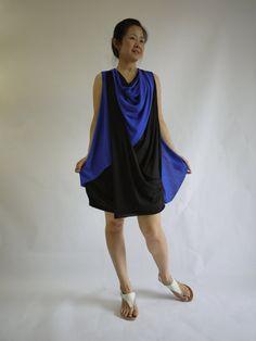 Sassy Dress...Sleeveless Neon Blue & Black by beyondclothing, $42.00
