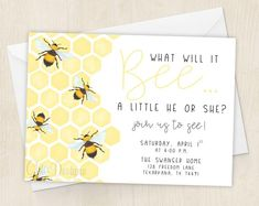 What Will It Bee - Honey Bee - Gender Reveal Invitation - He or She - Hunny Bees - Bumble Bee - Invitation - Digital/Printable File by ChiccDesigns on Etsy Bee Gender Reveal, Gender Reveal Themes, Gender Reveal Party Decorations, Baby Gender Reveal Party, Gender Party, Gender Reveal Invitations, Invitation Ideas, Shower Invitations, Bumble Bee Invitations