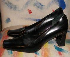 Via Spiga Italy Black Polished Leather Geometric Pumps Heels 8.5M Excellent Cond #ViaSpigaItaly #ClassicPumpsHeels #BusinessDress