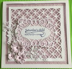 A sample card made with Sue Wilson striplet die and sweet heart flowers