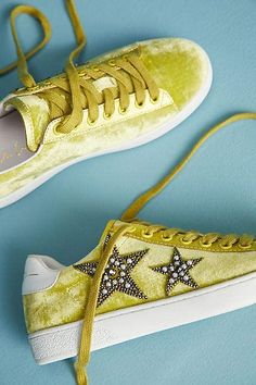 Lime green! Lola Cruz Beaded Star Velvet Sneakers #anthropologie #anthrofave #anthrohome #lime #shoes #giftsforher #ad