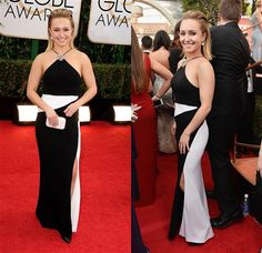 "The black-and-white tone of Hayden Panettiere's Tom Ford number was on-trend, but the modern silhouette didn't do much for the ""Nashville"" star's petite frame. Toss in the flower-like jewel on the spaghetti-stringed halter neckline, and it all seemed a touch back-room-at-Loehmann's. Also not working so well: Hayden's hair …"