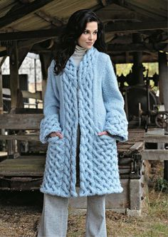 Hand Knit women's coat aran women's jacket women hand