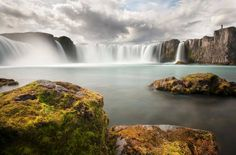 The Goðafoss (Icelandic: waterfall of the gods or waterfall of the goði) is one of the most spectacular waterfalls in Iceland. It is located in the Mývatn district of North-Central Iceland at the beginning of the Sprengisandur highland road. The water of the river Skjálfandafljót falls from a height of 12 meters over a width of 30 meters.