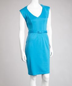 Take a look at the Ice Silk Blue Belted Cap-Sleeve Dress on #zulily today!