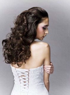 The hair style I would like :)  Half up half down with a comb at the crown holding veil