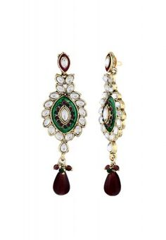 Women are just crazy about earrings and never have enough of these in their collection. These earrings are beautifully embellished with multicoloured stones and have an alluring look.