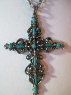 Crucifix Cross Style 2 Vintage Petitpoint Style Faux Turquoise Pendant Necklace | eBay