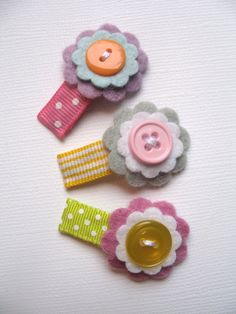 Felt flower Baby snap clips set of 3 in por BabyBirdClippies