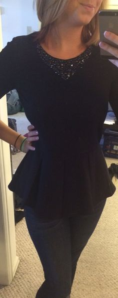 Stitch Fix - 41Hawthorn - Mickey Jeweled Collar Peplum. Never bought peplum, but this looks cute!
