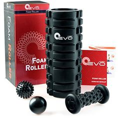 Yoga EVO Foam Roller Bundle – 13'' Textured High Density Roller – Deep Tissue Myofascial Release To Reduce Recovery Time, Get Rid Of Pain And Warm Up Muscles (Black Samurai)