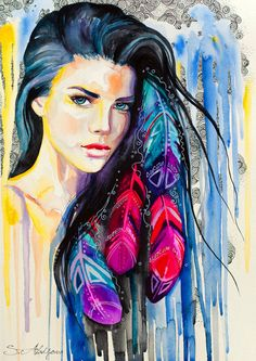 Original Watercolour Painting Colorful Feathers by SlaviART, $290.00