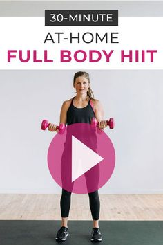 Burn calories and build lean muscle at home with this full-length 30-minute workout video: FULL BODY HIIT with weights! Grab your dumbbells and join me for this challenging total body workout! 30 Minute Workout Video, Hiit Workout Videos, Full Body Hiit Workout, Hiit Workout At Home, Workout For Beginners, At Home Workouts, Hiit Workouts With Weights, Glute Isolation Workout, Orange Theory Workout