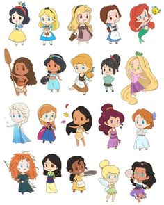 Disney Princess Pictures, Disney Princess Drawings, Disney Princess Art, Disney Fan Art, Cute Princess, Kawaii Disney, Chibi Disney, Disney Disney, Disney Girls