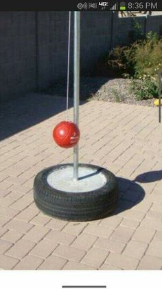 Wonder if we could add an attachment to our hit away pole Diy Yard Games, Lawn Games, Diy Games, Backyard Games, Backyard Projects, Tire Playground, Playground Ideas, Kids Yard, Kids Play Area