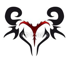 Aries Zodiac Tattoo Designs | Red And Black Ink Tribal Aries Zodiac Head Tattoo Design