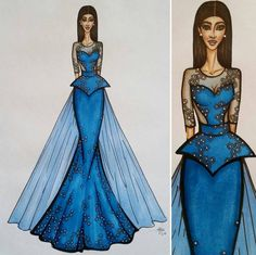Original A4 Fashion Illustration  Girl in by SketchedNEmbellished