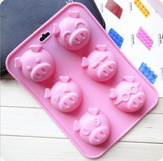 Cake Mold Soap Mold Silicone DIY Baking Tools Ice Cube Cookie Tray 6 PIGS